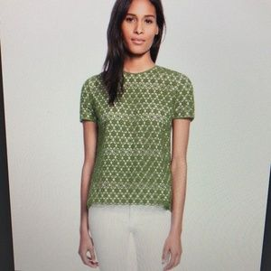 Tory Burch Green Lace Swing top with Back Details